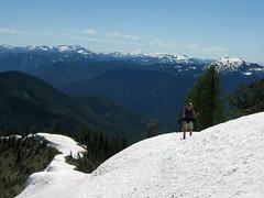 Long, snowy ridge.