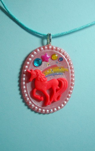 Pink Unicorn Rainbow Resin Handmade Polymer Clay Cameo Necklace by Dulcebella