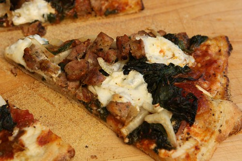 Swiss Chard and Rope Sausage Pizza with Fennel