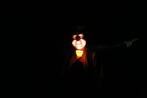 Flashlight photo in Boulder Cave