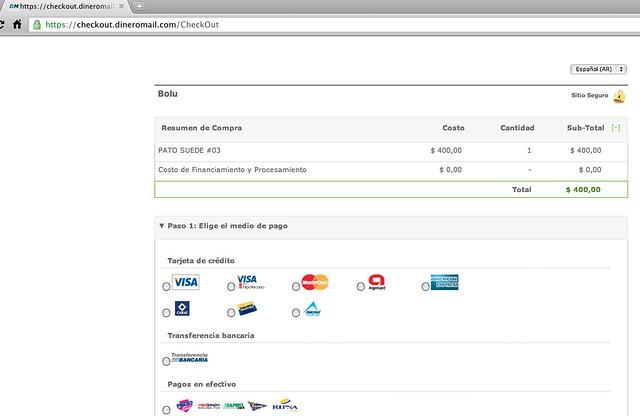 Ombu Shop te llevará a la página de checkout de Dinero Mail