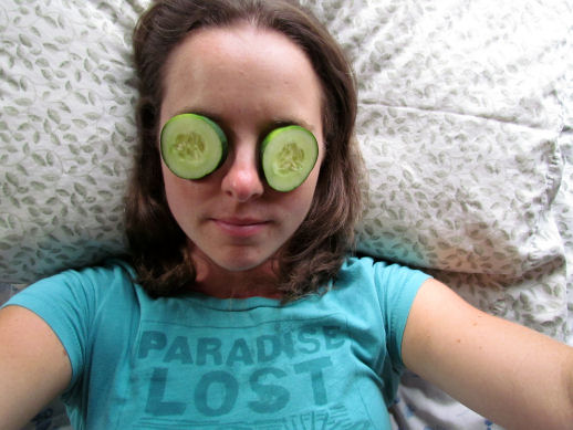 Cucumber Slices on Eyes