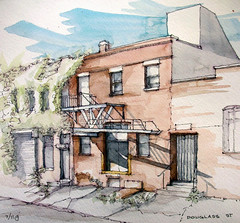 Douglass Street (James Anzalone) Tags: street city nyc newyorkcity shadow summer urban brown color building brick art window overgrown architecture illustration brooklyn facade ink watercolor painting james canal sketch industrial view drawing decay perspective ruin july ivy douglass line sidewalk fireescape gothamist gowanus dailylife everyday picturesque vignette rendering anzalone urbansketchers parkslopesketch