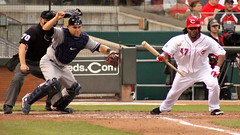 Russell Martin and Johnny Cueto (Dylan Moody) Tags: baseball catcher reds pitcher yankees allstar bunt newyorkyankees mlb cincinnatireds majorleaguebaseball russellmartin johnnycueto