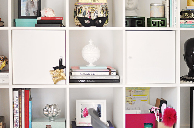 ikea expedit  desk unit in white decorated