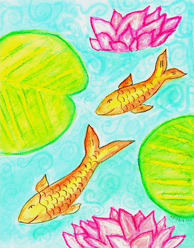 Fish and Water Lilies  by Melsky
