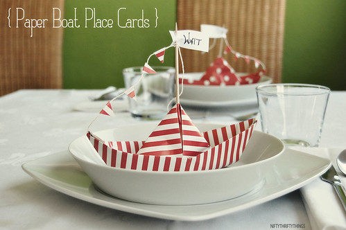 {paper boat place cards}