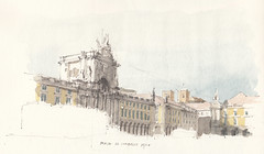 Praca do Comercio (Flaf) Tags: urban colour water pencil de se commerce place drawing lisboa lisbon von catedral lissabon baixa florian barock symposium marquis freie pombal sketchers sptbarock afflerbach zeichnerei