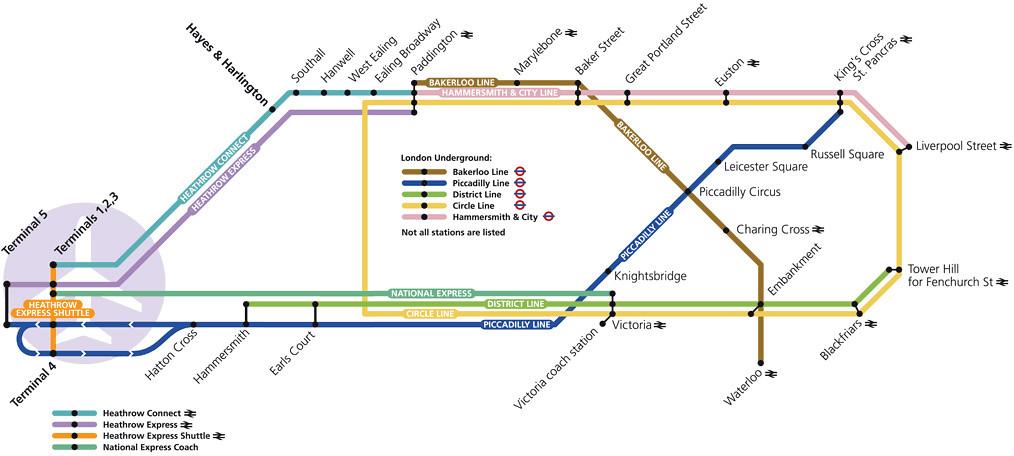 heHeathrow mapa de metrô e ônibus