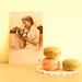 vintage postcard and macaroons
