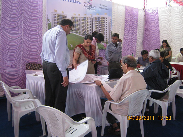 Property buyers finalizing their flats at the launch of DSK Kunjaban - 1 BHK 2 BHK Flats - Punawale - off Mumbai Bangalore Bypass - Pune 411 045