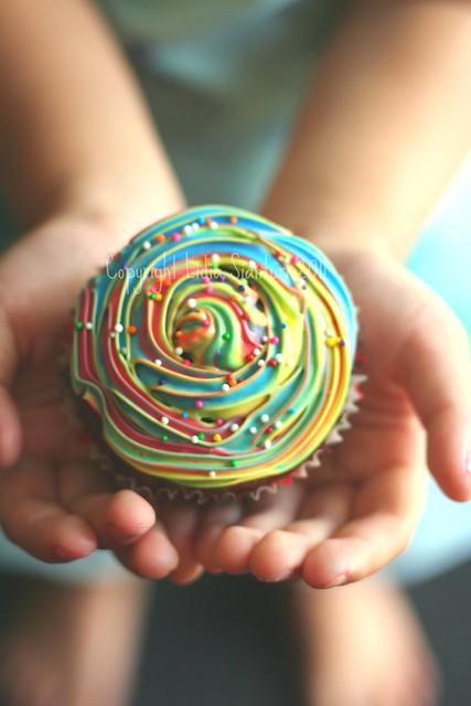 Rainbow Swirl cupcake