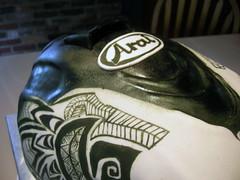 DSCN7943 (zacocakes) Tags: white black cake 3d painted helmet tribal dirtbike motocross aria sculpted warfare