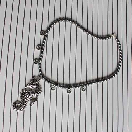 seahorse silver necklace