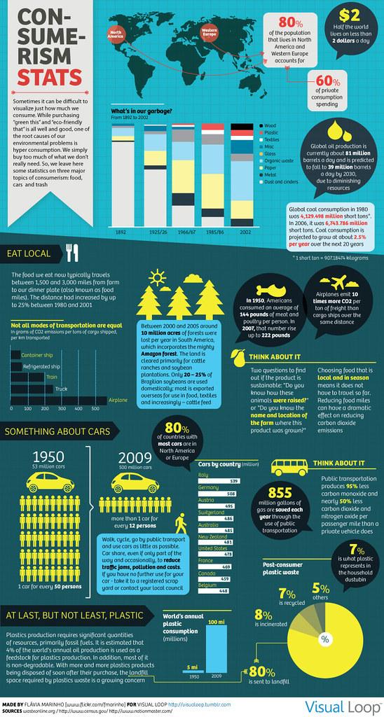 Infographic Consumerism Statistics Food Cars And Trash