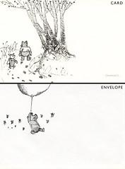 Classic Winnie-the-Pooh Greeting Card (Kaych) Tags: black pen ink watercolor drawing card american pooh envelope winniethepooh piglet eel winnie greeting shepard noodlers ehshepard