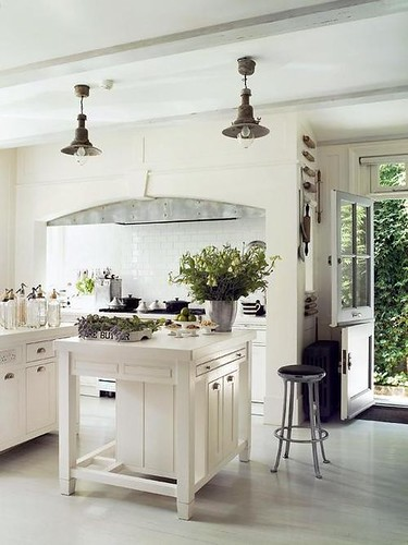 white and grey kitchen dutch door