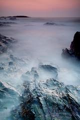 (Pensans) Tags: longexposure sunset sea mist beach rocks rough anglesey cemlyn