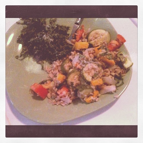 Farro with veggies, kale salad
