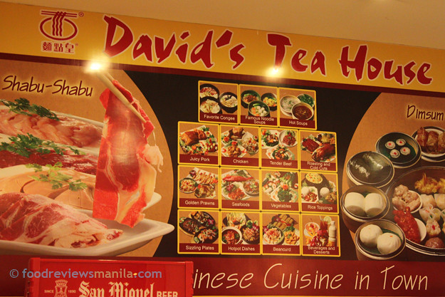 David's Tea House menu board