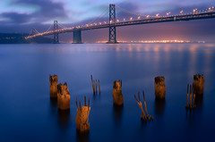Docks and Piers (Sebastian (sibbiblue)) Tags: sanfrancisco usa sunrise baybridge nikkor 18105 nikond7000