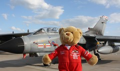 Lingy the Bear and static Tornado GR4 (sohvimus) Tags: airplane aircraft aeroplane lincolnshire tornado raf wtn waddington rafwaddington royalairforce tornadogr4 northkesteven panaviatornado rafwaddingtoninternationalairshow egxw lingythebear