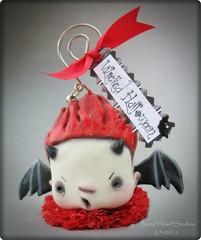 Dynkie Devil (Bone*Head*Studios) Tags: red halloween bells ribbons vampire horns tags ornament clay demon devil artdoll crepepaper halloweenart hangingornament bneheadstudios