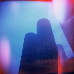 Marina City Chicago (squared2x) Tags: camera chicago film holga lofi 120mm