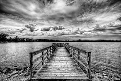 Peaceful Place (Joe Gazzarato) Tags: bridge summer sky blackandwhite bw lake nature water clouds blackwhite dock nikon rocks artistic cloudy michigan scenic yearbook wideangle places portfolio week28 hdr stonycreek macombcounty greatphotographers d700 joegazzaratophotography blinkagain greaterphotographers wwwjoegazzaratocom bestofblinkwinners 52oftwentyeleven