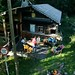 Acampamento na casa da montanha