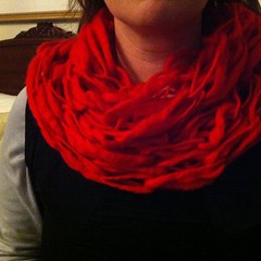 Yarn bought and arm knitted into a super cowl in 45mins - go Maria! #bendigosheepandwool