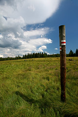 Sign (Katka S.) Tags: park shadow sky nature grass sign clouds landscape meadow national reservation umava modrava modravsko