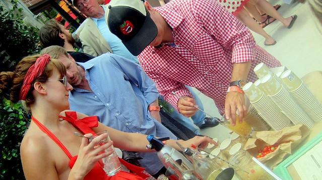 callie schlosser and jerry slater in action at the killer tomato festival