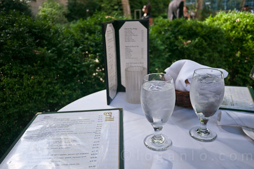 Two glasses of water at Bryant Park Grill, NYC