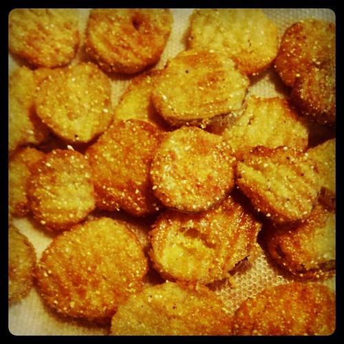Homemade fried pickles!
