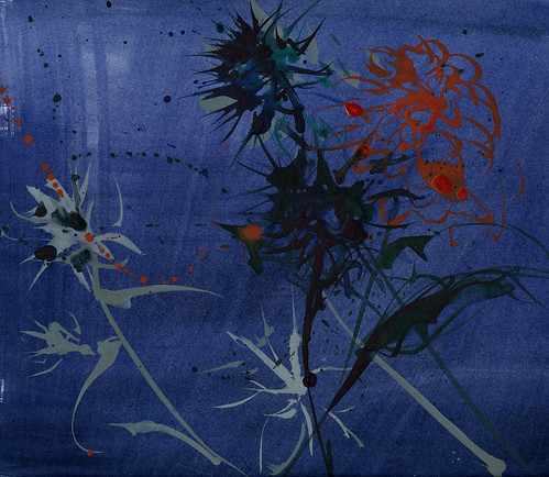 Thistles, dahlia on blue