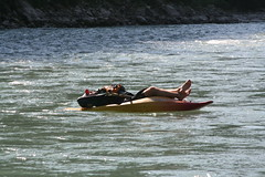 Dave relaxing sun Kosi Adventure rafting and Kayaking river trip
