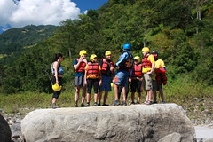 team meeting on the Tamur  Tamur  Adventure rafting and Kayaking river