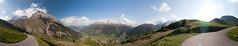 panoramic view above Splgen, Grisons, Switzerland (biologo) Tags: sky panorama sun lake mountains alps water alpes switzerland evening bluesky flare alpen alp alpi 360 cylindrical hugin graubnden splgen westernalps centraleasternalps easternalps adulaalpen alpilepontine lepontinealps alpeslpontines lepontinischealpen oberhalbsteinrange splgenerkalkberge