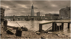 Thames Side (Steve's Photography :-)) Tags: wood city bridge sea london water thames canon buildings crane shingle bridges peebles hdr offices groynes eos300 southwarkbridge theshard steveclancy