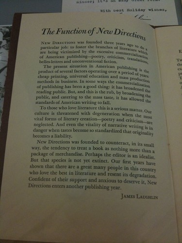 James Laughlin's rationale for New Directions Publishing Corp.