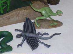 Flying lizard & running dino (cyberman25ukuk) Tags: model plastic jungle aurora swamp kit prehistoric scenes