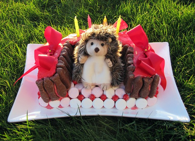 hedgehog on couch birthday cake