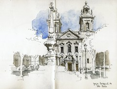 Lisbon, Praa do Sao Paulo (Luis_Ruiz) Tags: church architecture square sketch drawing lisboa lisbon iglesia baroque dibujo symposium barroco carnetdevoyage urbansketchers