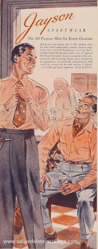 Ad- Mens fashion- Cruising locker room  1945