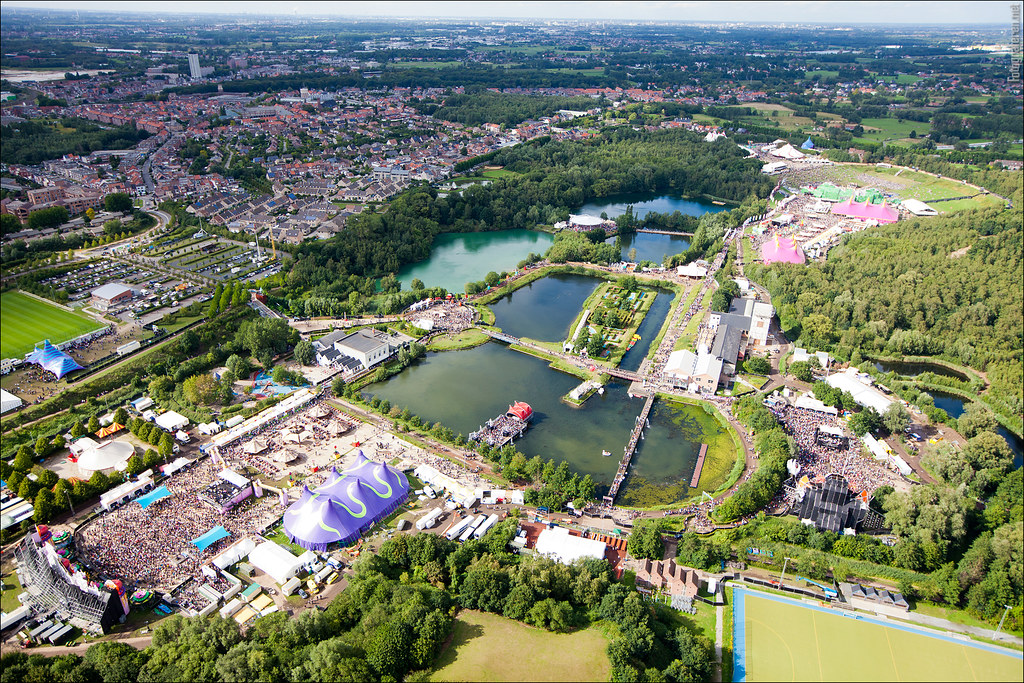 Aerial view over Tomorrowland