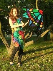 Crochet Umbrella - Enchanted Stained Glass Granny Square Umbrella (babukatorium) Tags: pink flowers blue red summer orange black flower color green art fashion yellow umbrella square rainbow triangle funny colorful dress purple recycled handmade top mosaic turquoise teal oneofakind crochet moda violet style used cotton parasol button romantic hippie fiori patchwork psychedelic fiore arcobaleno remake embellished doily pentagon multicolor octagon whimsical renew ombrello darkblue haken parasole hkeln emeraldgreen croch grannysquares ganchillo fuxia upcycled uncinetto cotone handdecorated fattoamano  tii horgolt decoratoamano babukatorium
