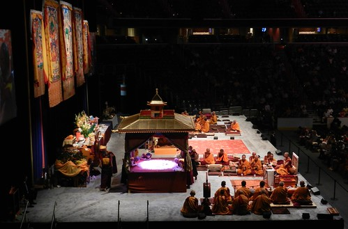 Kalachakra Stage, pavilion, mandala being created with colored sand, thangkas, altar, Namgyal monks, His Holiness the Dalai Lama, Kalachakra for World Peace, Verizon Center, Washington D.C., USA by Wonderlane