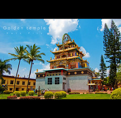 Golden temple (Kals Pics) Tags: sky india architecture clouds nikon peace buddhism divine holy 1855mm karnataka coorg goldentemple kodagu bylakuppe d40 kalspics