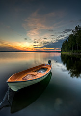 Orange (- David Olsson -) Tags: trees sunset lake water reflections landscape evening nikon raw sundown sweden tripod sigma 1020mm hdr vrmland cameraraw orangeboat lakescape gapern photomatix d5000 davidolsson finnsns